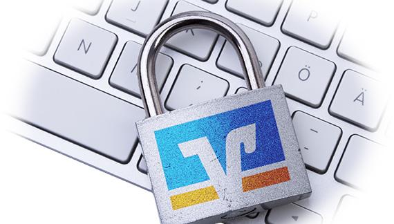 Tastatur mit Schloss und Logo