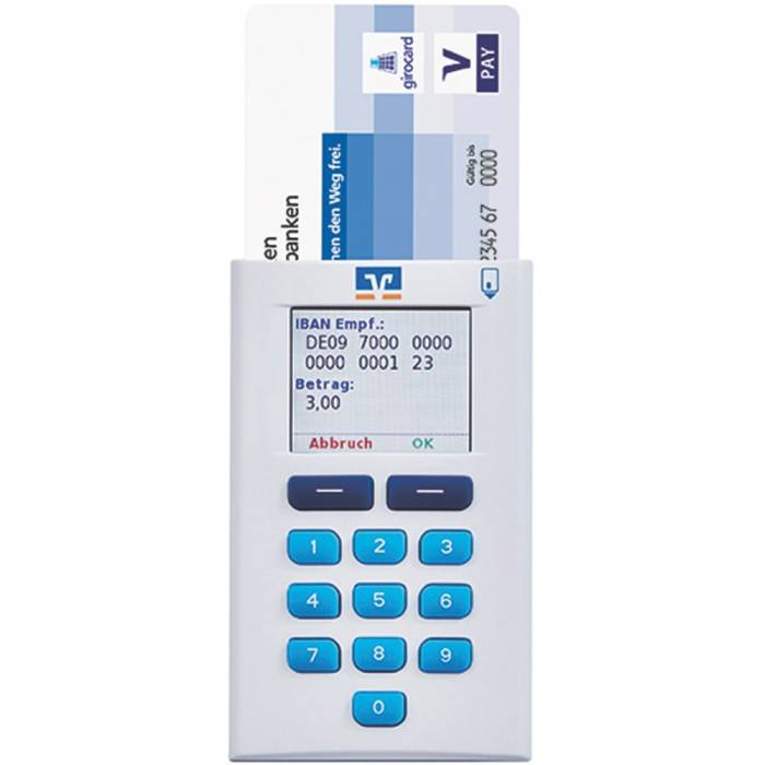 Produktbild OneSpan Digipass hybrid mit eingestecker V-Pay Karte